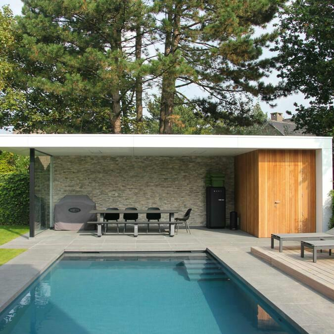 Totaalconcept - zwembad / poolhouse / tuinAfmetingen: 10x 3,6x 1,5 mBekledin