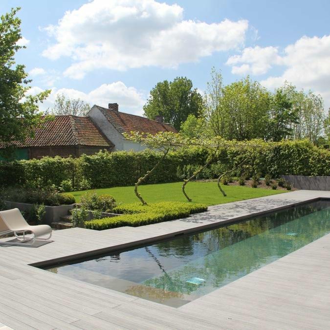 Totaalconcept - zwembad / tuinAfmetingen: 15x 3x 1,5 mKleur: donkergrijs&nbs